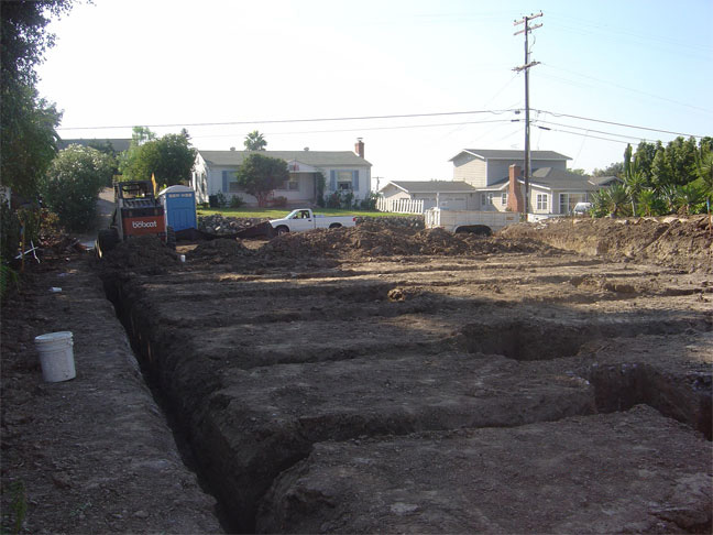 Trenching for footings